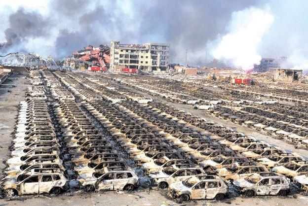 Destrucción total. Los autos estaban listos para ser exportados. Ninguno se salvó.