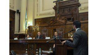 El diputado Facundo Moyano expone ante la Corte Suprema en la audiencia sobre la sindicalización de policías.