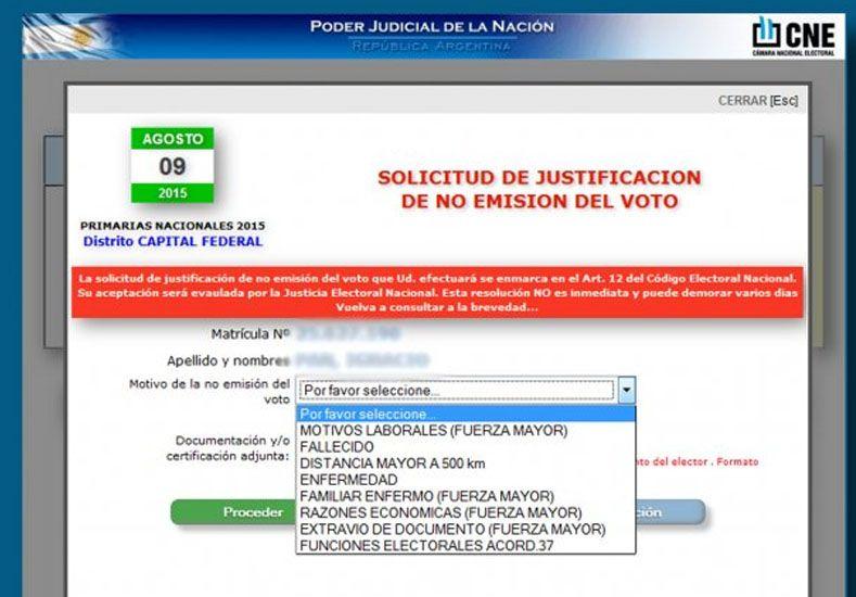 Está online el sistema para justificar la no emisión del voto