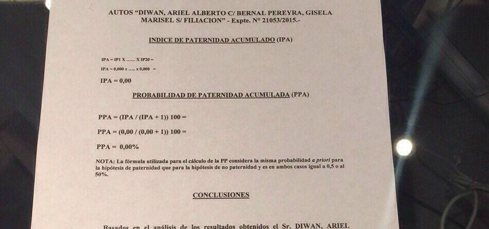 Este es el documento que confirma que Ariel Diwan no es el padre del hijo de Gisela Bernal