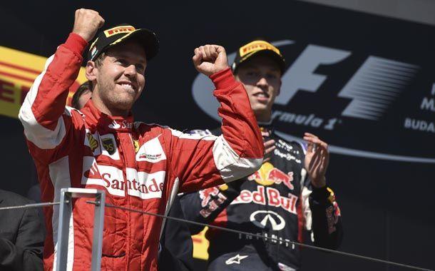 Vettel se subió a lo alto del podio en Hungría.