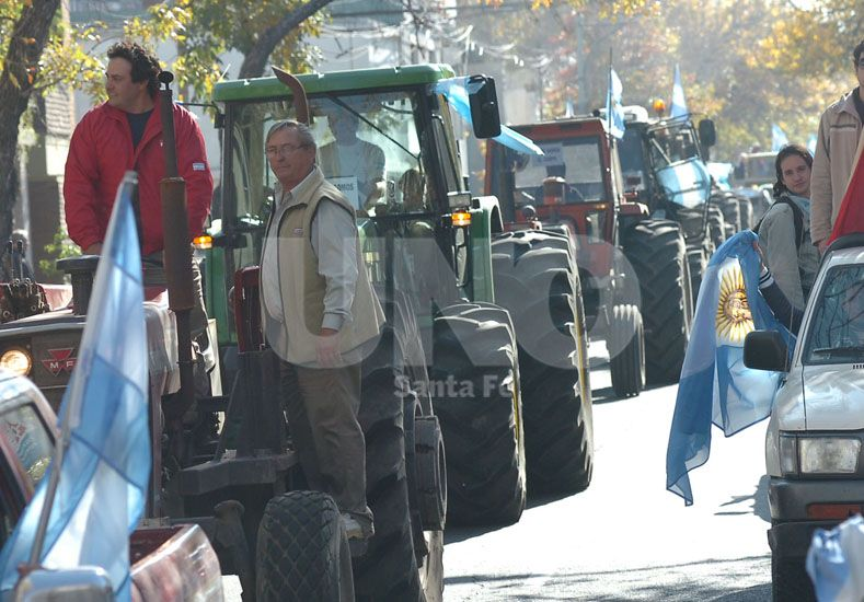 Protesta. Las entidades agropecuarias realizarán asambleas para recordar el paro que realizaron en 2008. Foto: Manuel Testi / Diario UNO Santa Fe