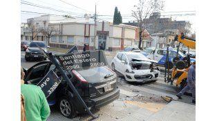 El choque se produjo en la esquina de 1 de Mayo y Santiago del Estero./ José Busiemi.
