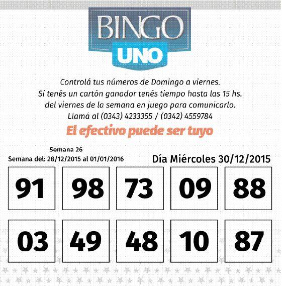 Números del BINGO UNO de la semana del 28 de diciembre al 1 de enero
