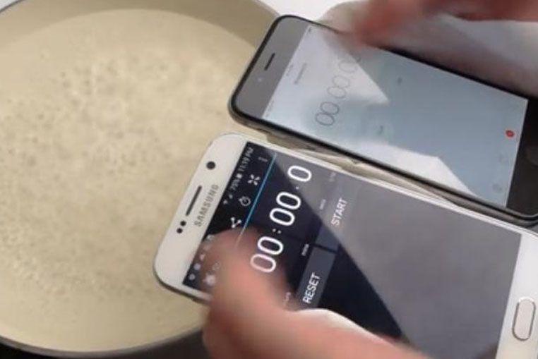 Un video muestra lo que sucede al colocar un Galaxy y un iPhone en agua hirviendo