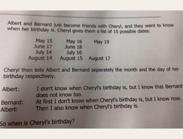 La respuesta al problema ¿Cuándo es el cumpleaños de Cheryl?