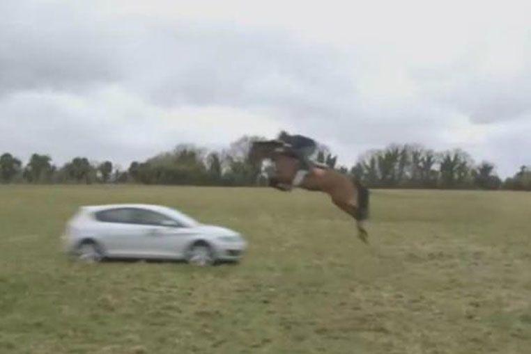 ¿Será verdad?: un jinete con su caballo saltan un auto en movimiento
