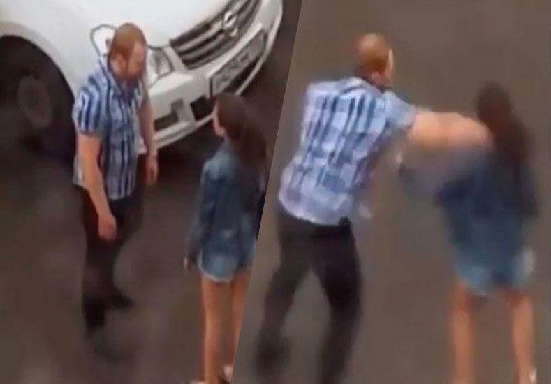 Rusia: un hombre noqueó a su novia en una discusión callejera