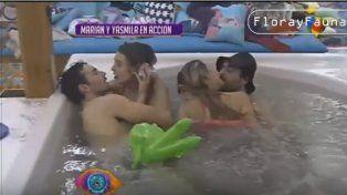 Yasmila, Marian, Dante y Patricio en una fiesta swinger en Gran Hermano