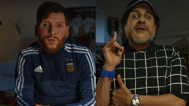 Maradona despertó a Messi antes de la final: otra imitación de Bossi