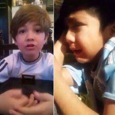 conmovedor: entre llantos y suplicas, dos nenes le piden a messi que no se vaya