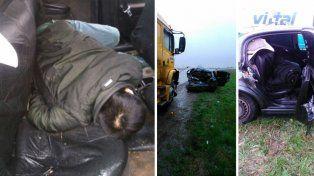 Seis chinos chocan contra camión, muere uno y el resto huye despavorido