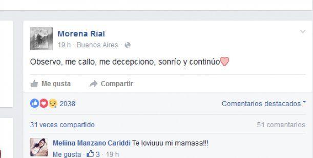 El melancólico mensaje que Morena Rial publicó en Facebook a días de operarse