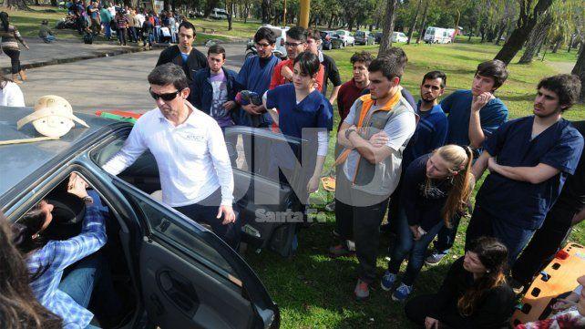Se realizó un simulacro de accidentes de tránsito en el Parque Garay