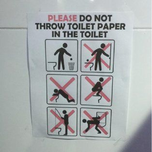 prohibido pescar: el extrano cartel en los banos de los juegos olimpicos