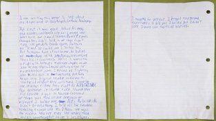 Con esta carta Danny contó su sufrimiento.