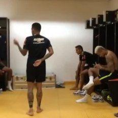 el tremendo baile de neymar y sus companeros en el vestuario