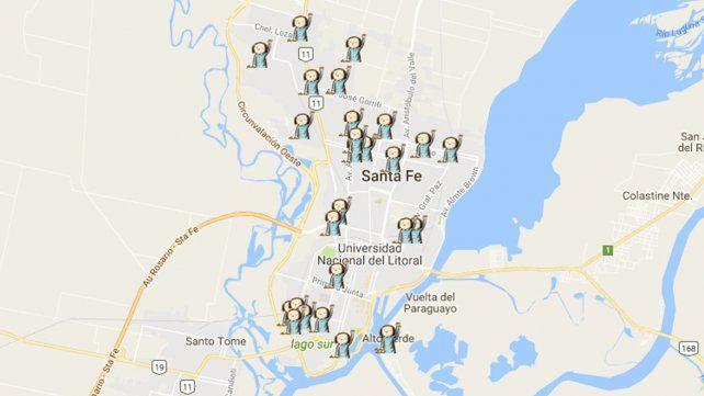 El mapa de los femicidios en la ciudad de Santa Fe