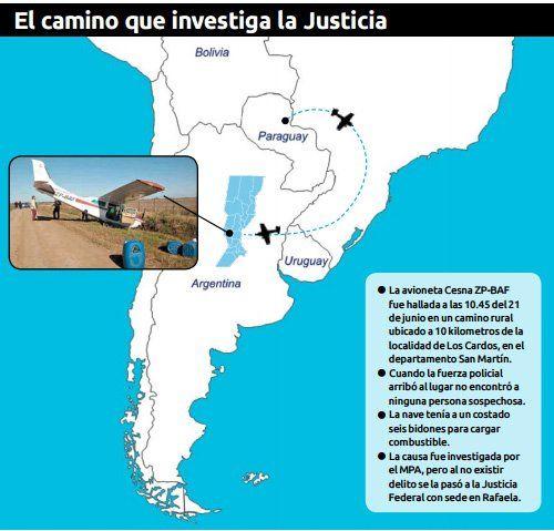 El viaje de una aeronave devela la ruta del narcotráfico en la región