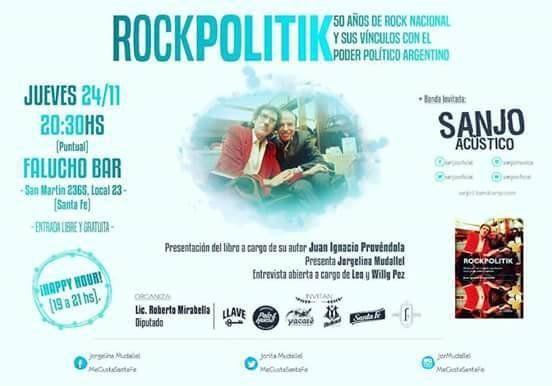 Presentarán el libro RockPolitic en una velada literalmente rockera