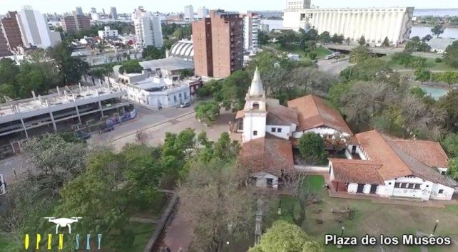 Un paseo en drone por lugares históricos de la ciudad de Santa Fe