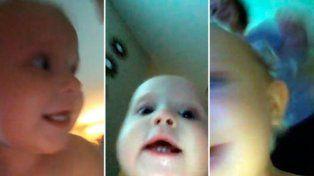 Una beba robó el celular de su hermana y grabó su huida