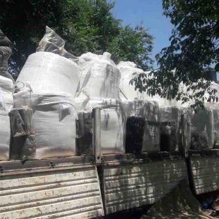 El camión donde se trasladaban las hojas de coca.