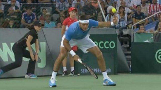 El momento en que Del Potro se fisuró el dedo durante Copa Davis