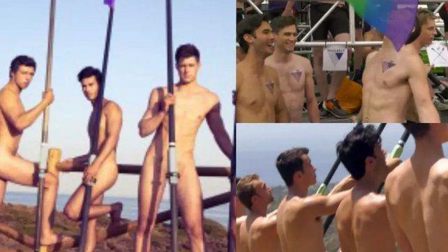 Remeros desnudos con un mensaje contra la homofobia