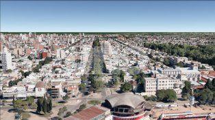 Vista aérea. En el centro de la imagen, la avenida Freyre capturada desde un dron.