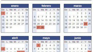 El calendario de feriados nacionales previstos para este 2017