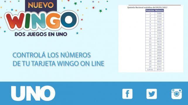 Estos son los números de WINGO de la semana del 2 al 6 de enero