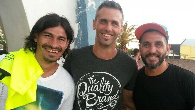 Carignano junto a Sungui Blanco y Chipi Gandín, excompañeros durante diferentes etapas en sus carreras.