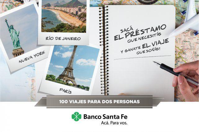El Banco Santa Fe sorteará 100 viajes a Madrid/París, Nueva York y Río de Janeiro