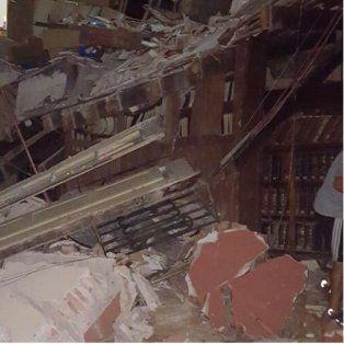Impactante. Una imagen del interior del histórico edificio, tomada esta noche.