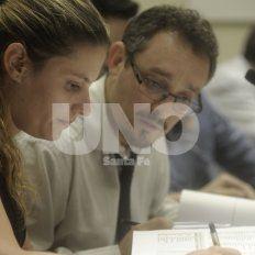 Fueron contundentes. El fiscal De Pedro y la querellante, Celeste Roa Hertelendi.