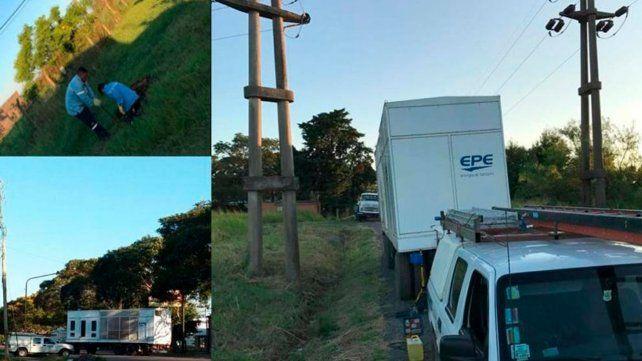 Los trabajos realizados por los responsables de la Empresa Provincial de la Energía en la ciudad de Esperanza.