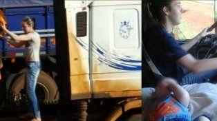 Una joven se hizo cargo del camión de su marido enfermo y, con su bebé, salió a levantar la cosecha