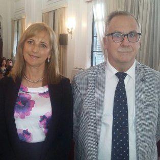 Apertura.Adriana Caballero y Marcelo Fontana participaron del acto en el Salón de Actos de la Corte Suprema.