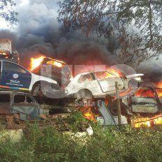Incendio en el depósito policial: se quemaron decenas de autos