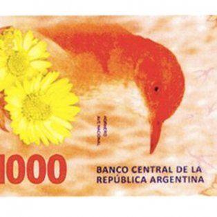 en octubre lanzaran el billete de $1.000 con la imagen del hornero