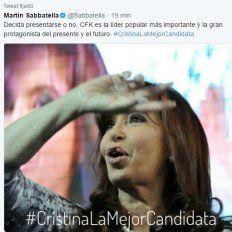 Catarata de tuits de Sabatella en apoyo a una eventual candidatura de CFK