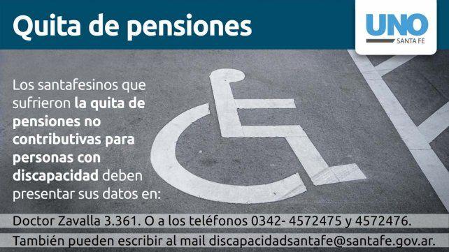 La Provincia convoca a quienes les quitaron la pensión por discapacidad