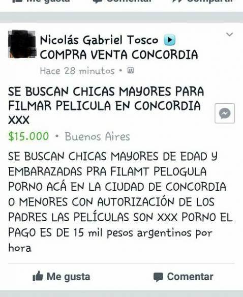 Escándalo en Entre Ríos: buscan menores para filmar una porno