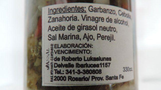 La Assal prohibió el Escabeche de Mix de Verduras Sabores de lo natural