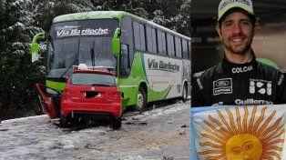 Mauro Giallombardo chocó contra un colectivo en la ruta 40 y su estado es grave