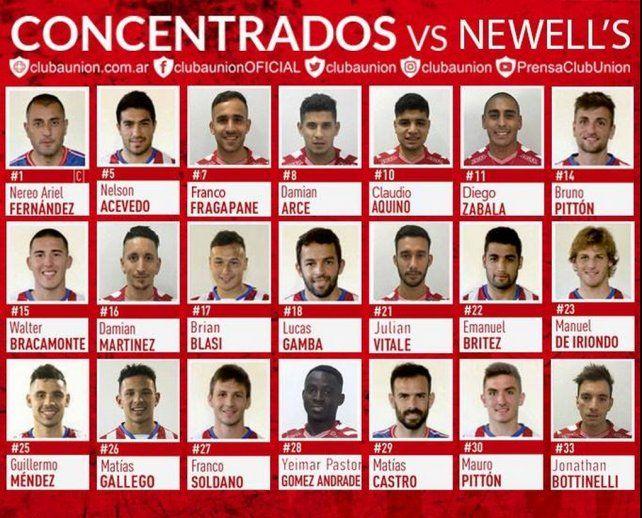 Unión viajó a Rosario con 20 jugadores convocados