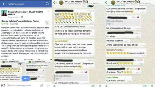Asperger: amenazan a una de las madres del grupo de WhatsApp que festejó la separación de un alumno