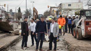 Garibay y Jatón evaluaron los avances del desagüe Mariano Comas en la ciudad de Santa Fe