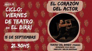 Viernes de teatro en El Birri presenta El corazón del actor